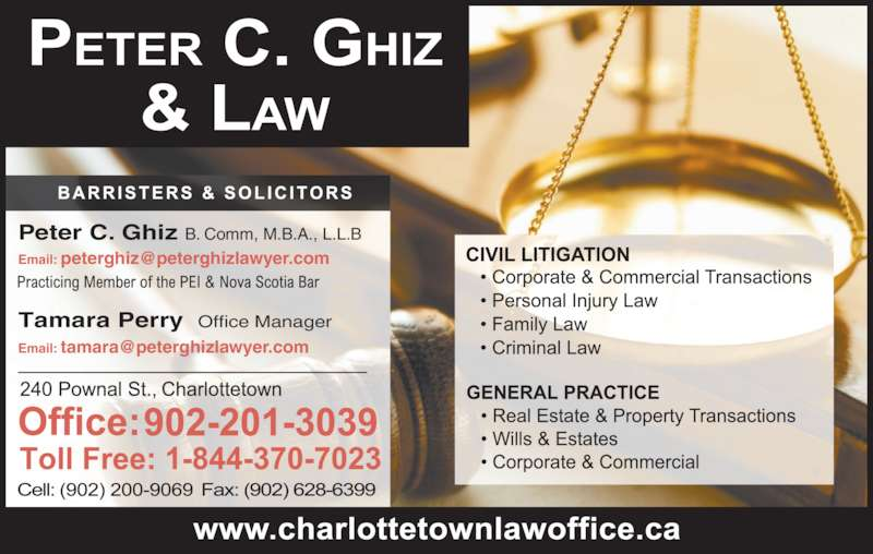 Peter C Ghiz (9026286300) - Display Ad - Tamara Perry Office Manager Peter C. Ghiz B. Comm, M.B.A., L.L.B