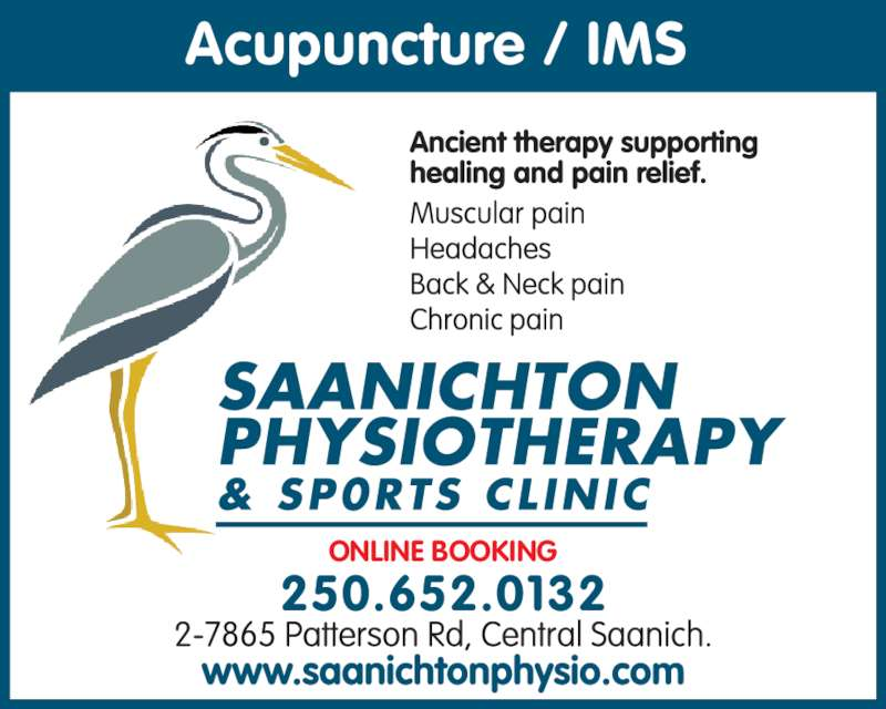 Saanichton Physiotherapy (250-652-0132) - Display Ad - ONLINE BOOKING