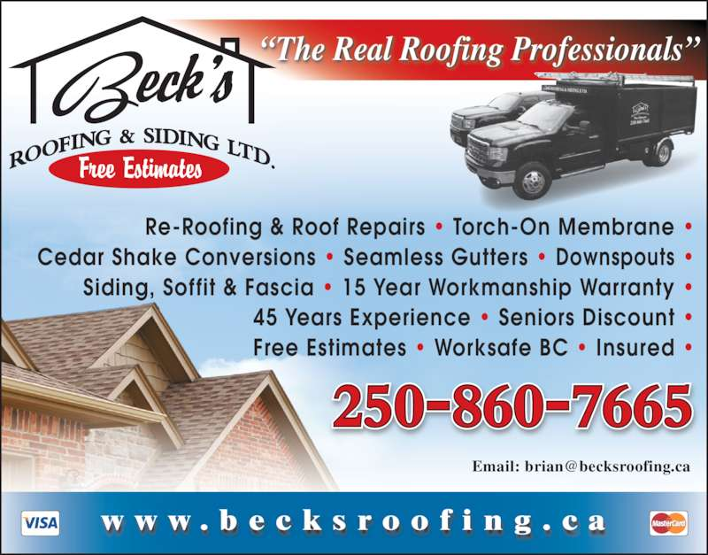 Beck S Roofing Amp Siding Ltd Kelowna Bc Po Box 2251