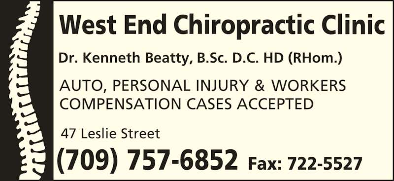 West End Chiropractic Clinic Ltd (709-722-5515) - Display Ad - (709) 757-6852