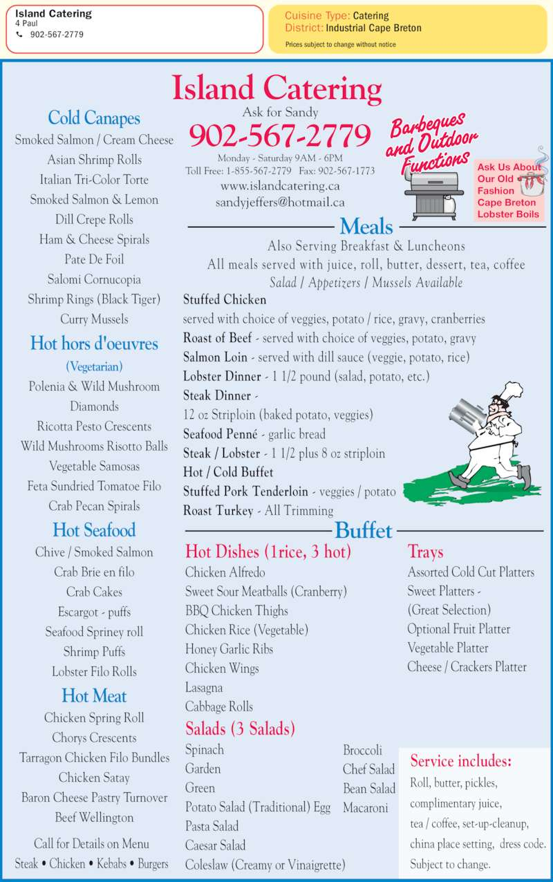 Island Catering Menu Hours Amp Prices 4 Paul St Sydney Ns