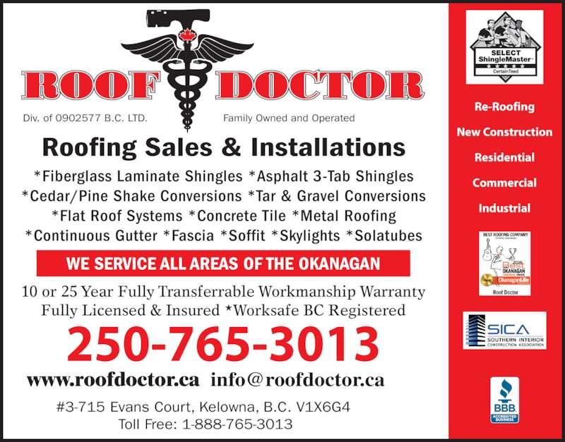 Roof Doctor Opening Hours 3 715 Evans Crt Kelowna Bc