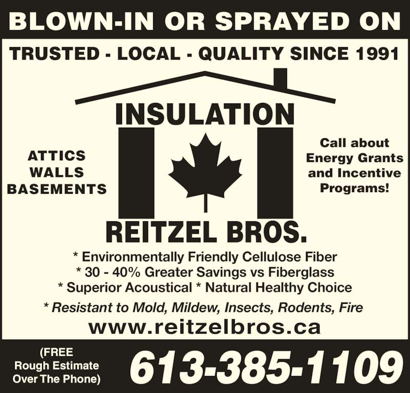 Reitzel bros insulation opening hours 917 montreal st for Roxul insulation vs fiberglass insulation