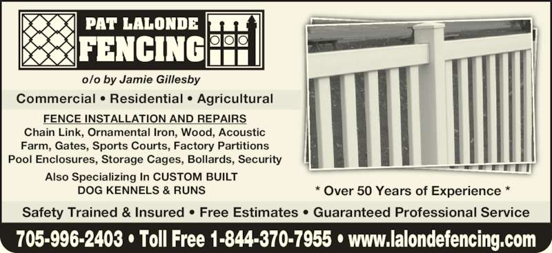 Lalonde Pat Fencing Opening Hours
