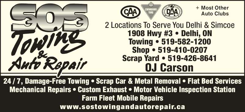 Sos Towing Repair Service Opening Hours 1908 Hwy 3 Delhi On