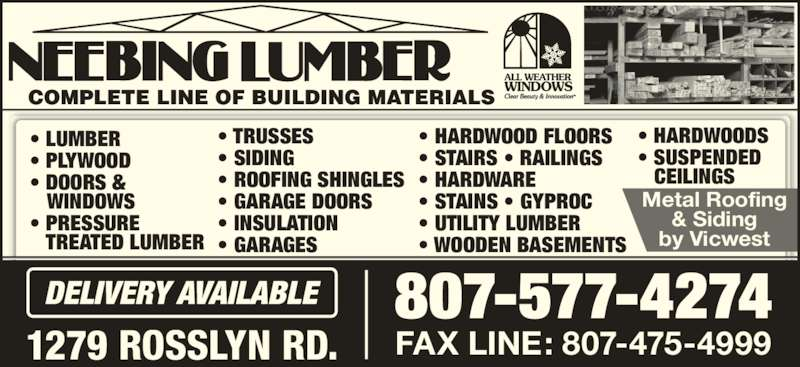 Neebing Lumber Thunder Bay On 1279 Rosslyn Rd Canpages