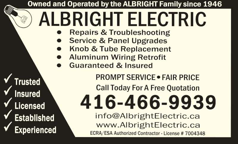 Albright Electric Co Limited Canpages