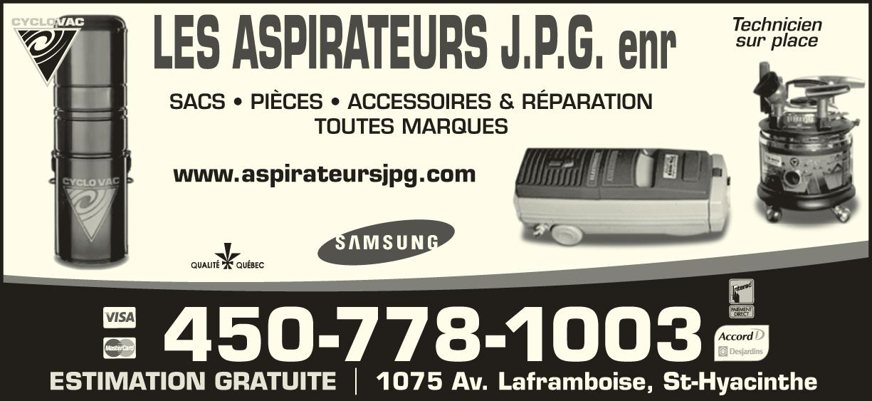 Les Aspirateurs J P G Inc (450-778-1003) - Annonce illustrée======= - SACS ? PI?CES ? ACCESSOIRES & R?PARATION TOUTES MARQUES Technicien sur place 1075 Av. Laframboise, St-HyacintheESTIMATION GRATUITE 450-778-1003 www.aspirateursjpg.com