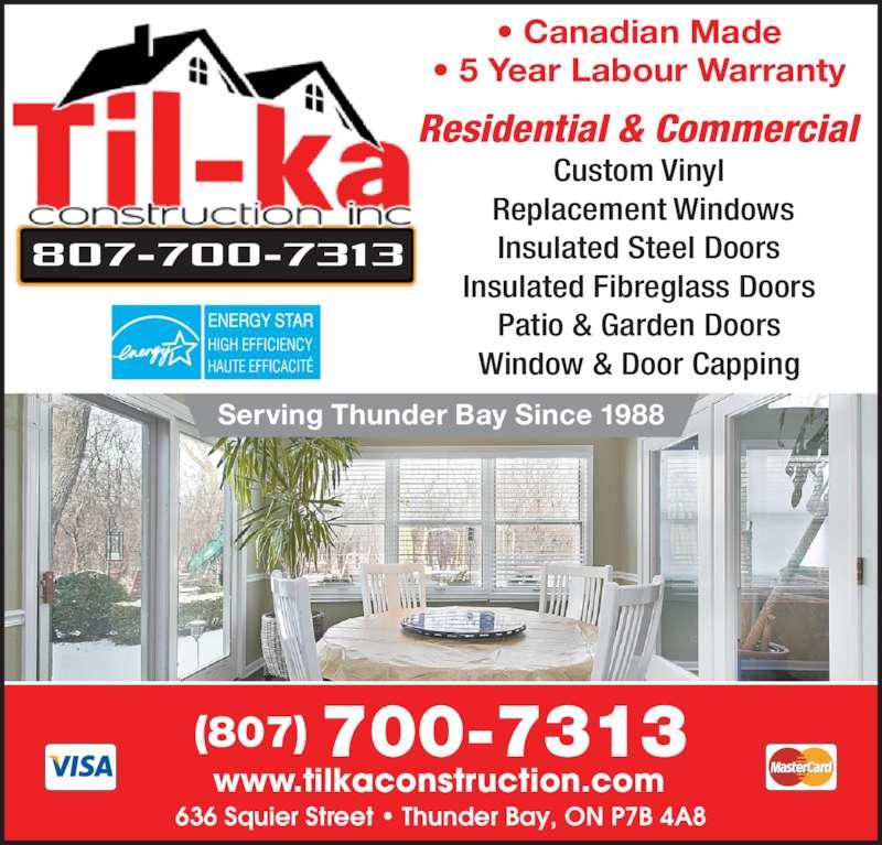 Til Ka Construction Inc Thunder Bay On 636 Squier St