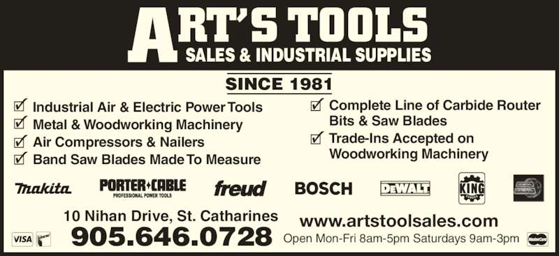 Art's Tool Sales - St Catharines, ON - 10 Nihan Dr | Canpages