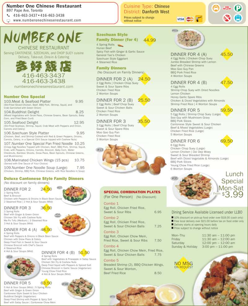 Number One Chinese Restaurant - Menu, Hours
