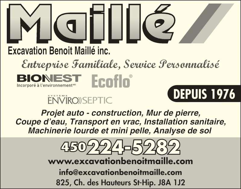 Excavation Benoit Maillé Inc (450-224-5282) - Annonce illustrée======= -