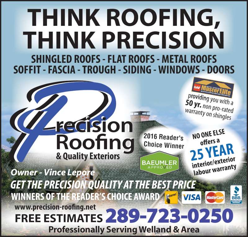 Precision Roofing Welland On 217 Denistoun St Canpages