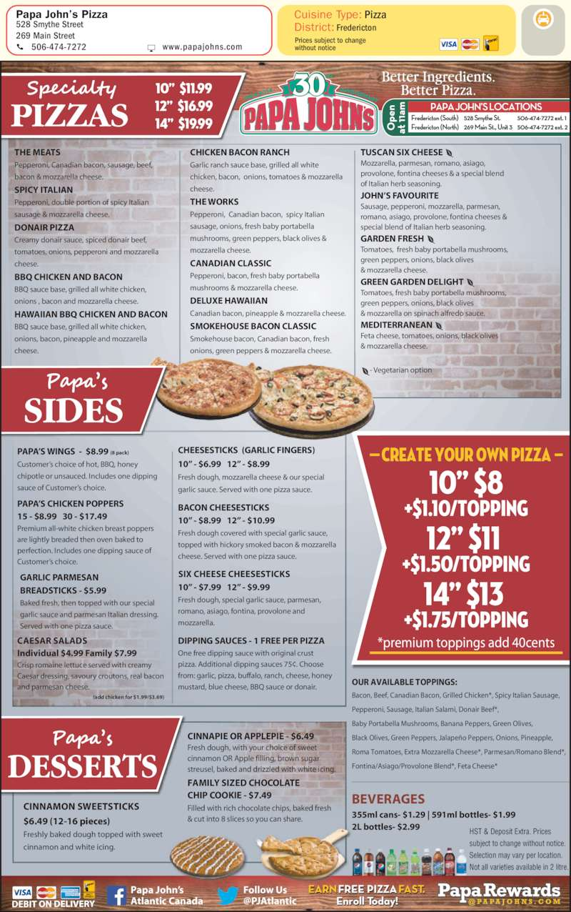 Papa Johns Menu Price Scanna Energy