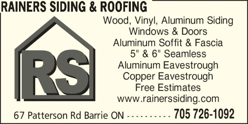 Rainer S Roofing Barrie On 1 67 Patterson Rd Canpages