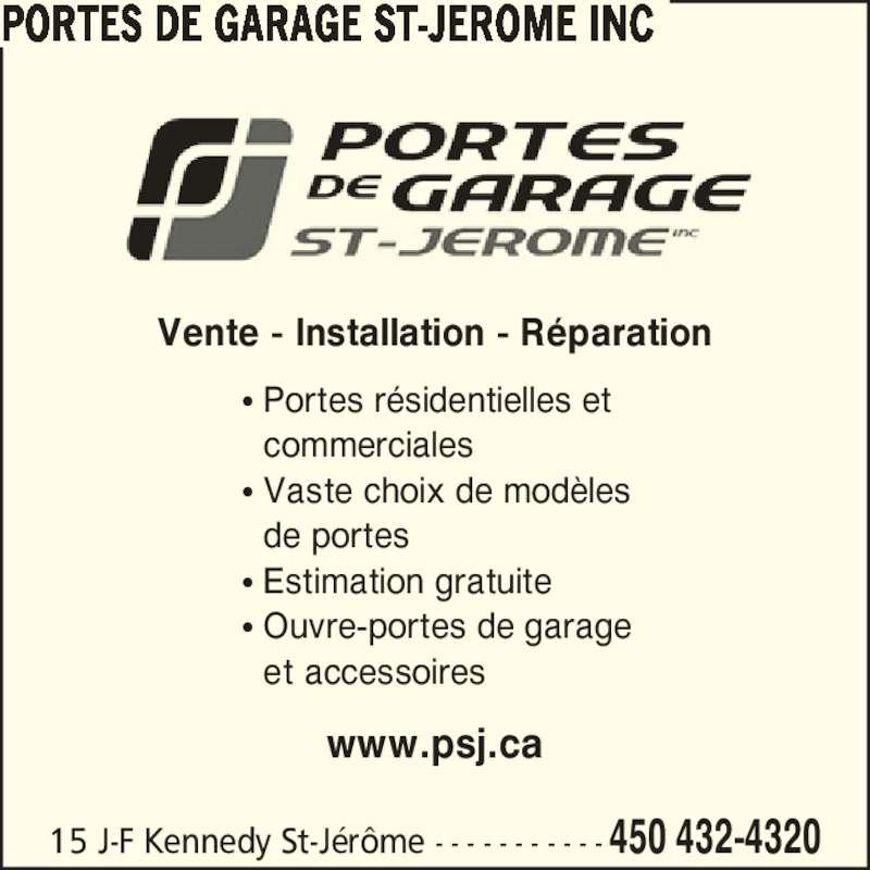 Portes de garage st j r me inc saint j r me qc 15 rue - Ouvre porte de garage installation ...