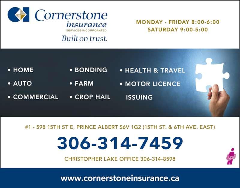 Cornerstone Insurance Services Prince Albert Sk 1 598 15th St E Canpages
