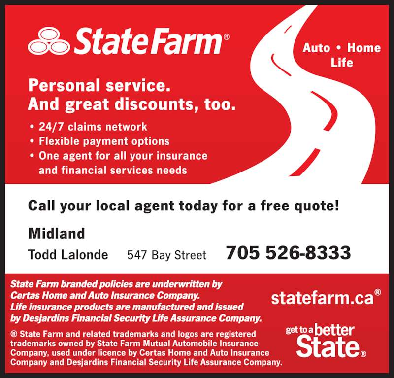 state farm insurance opening hours 547 bay st midland on. Black Bedroom Furniture Sets. Home Design Ideas
