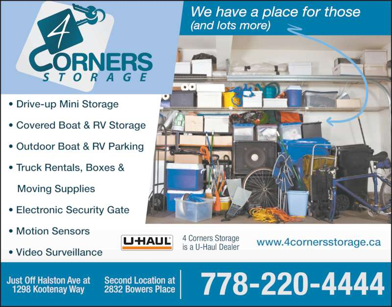4 Corners Storage  Opening Hours  1298 Kootenay Way