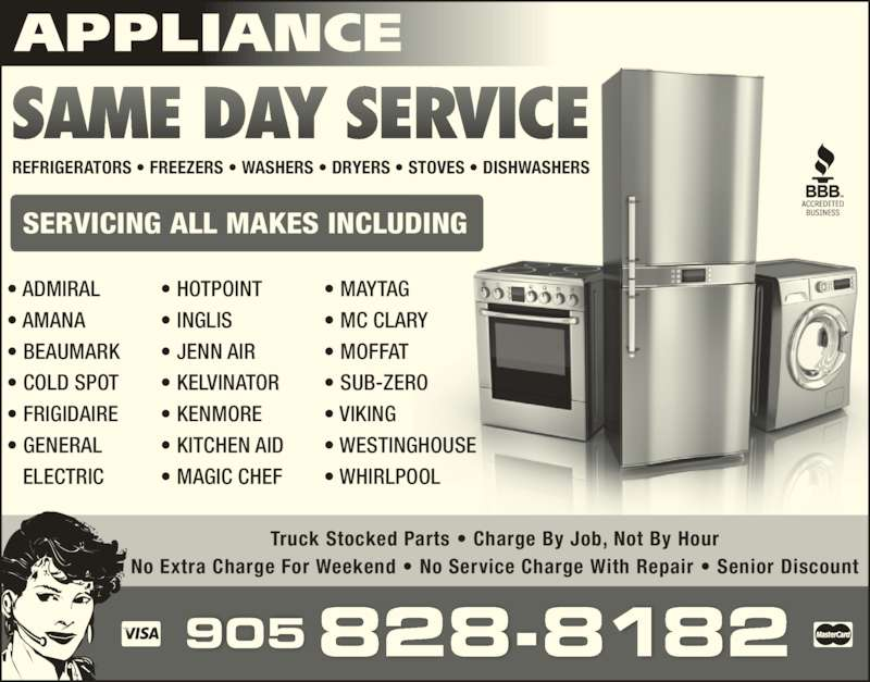 Appliance Same Day Service Opening Hours On