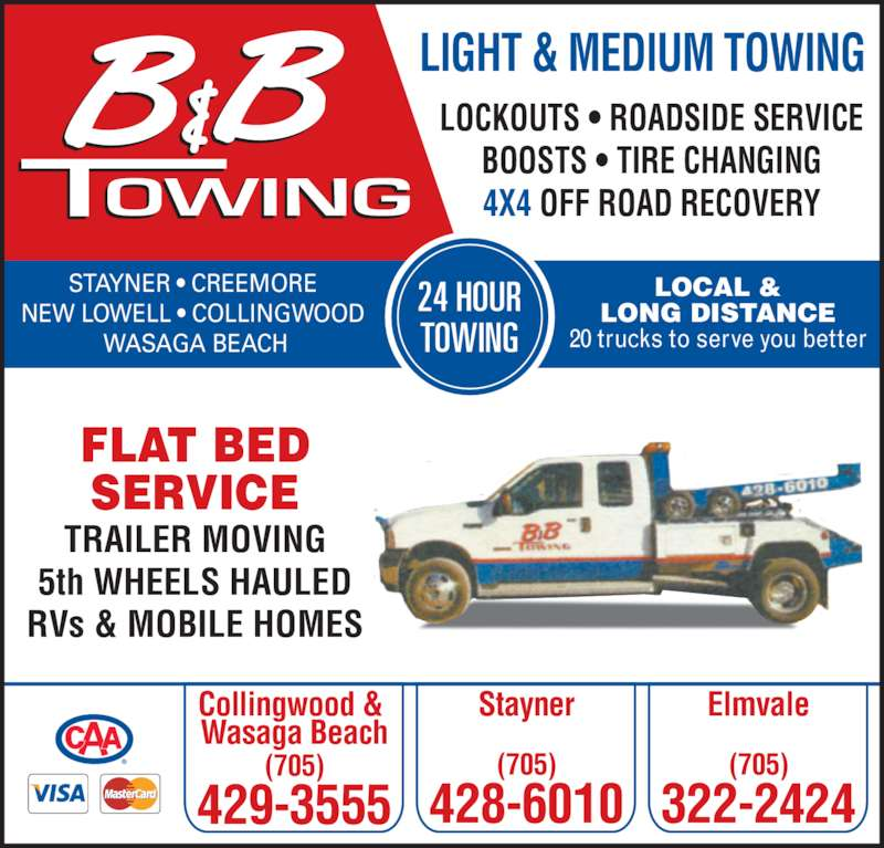 B b towing wasaga beach on 590 river rd w canpages for 24 hour tanning salon near me