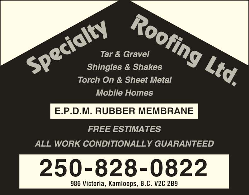 Specialty Roofing Ltd 986 Victoria St Kamloops Bc