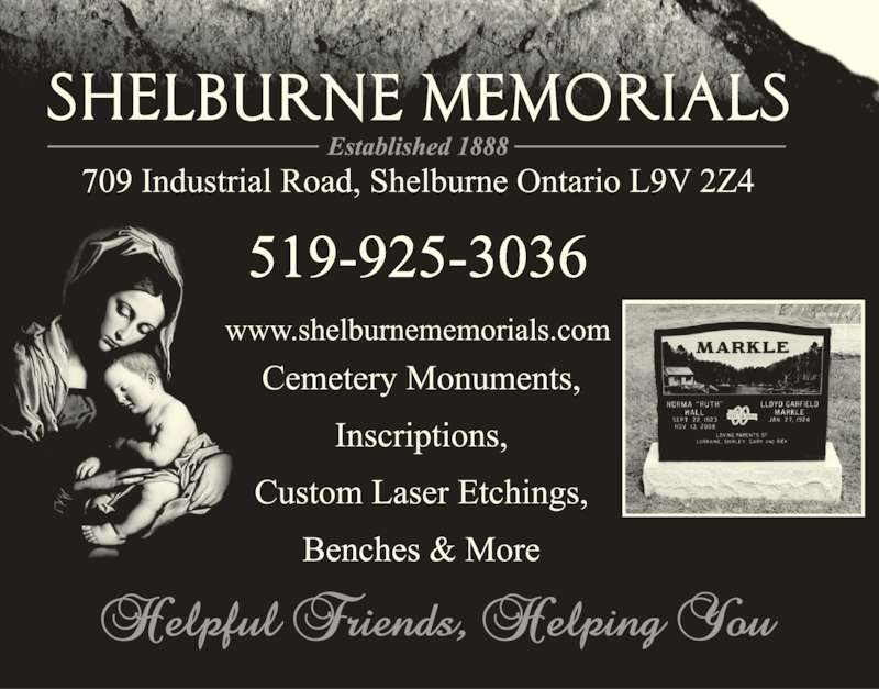 Shelburne Memorials Ltd (519-925-3036) - Display Ad - 519-925-3036