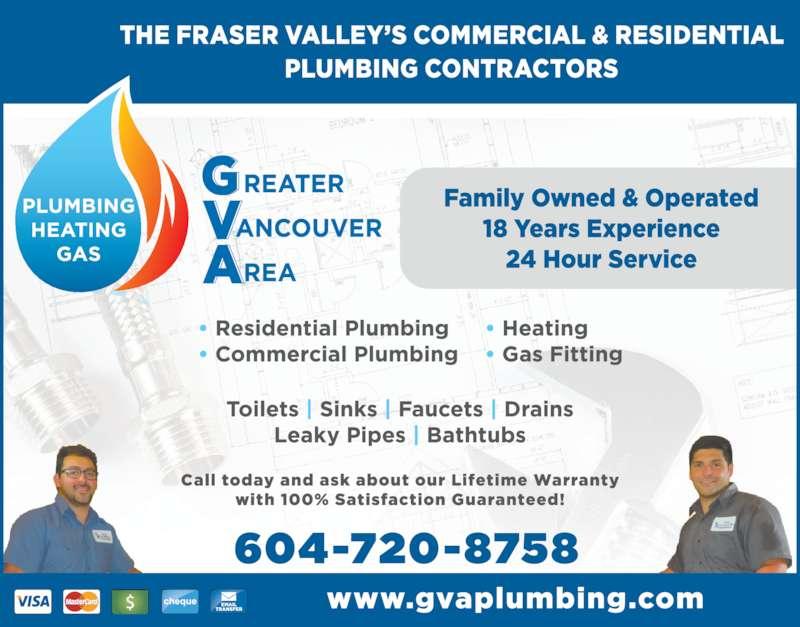 GVA Plumbing & Heating (604-720-8758) - Display Ad -