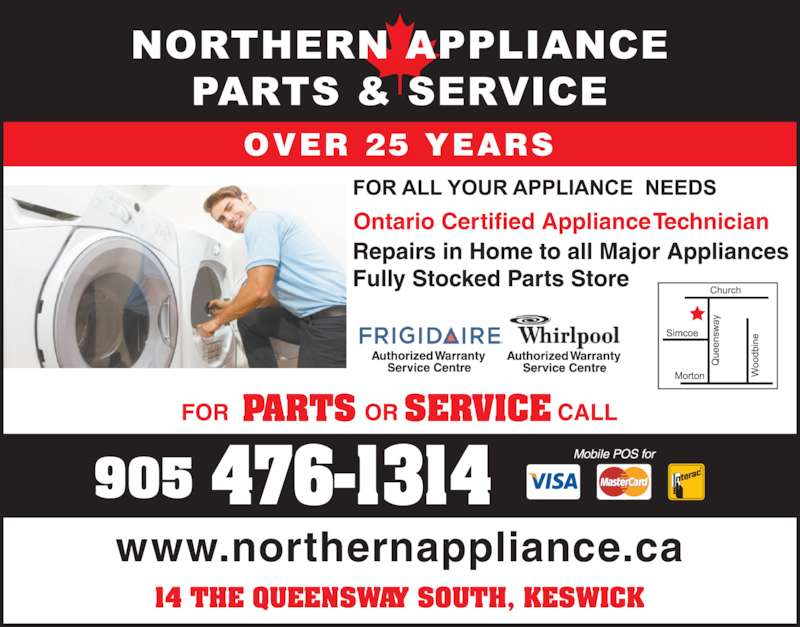 Northern Appliances Parts & Service (905-476-1314) - Display Ad - www.northernappliance.ca OVER 25 YEARS