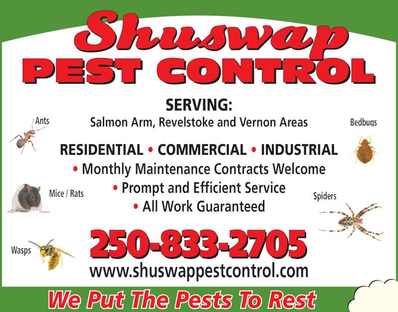 Shuswap Pest Control (250-833-2705) - Display Ad - We Put The Pests To Rest SERVING: Salmon Arm, Revelstoke and Vernon Areas RESIDENTIAL ? COMMERCIAL ? INDUSTRIAL ? Monthly Maintenance Contracts Welcome ? Prompt and Efficient Service ? All Work Guaranteed www.shuswappestcontrol.com 250-833-2705 Bedbugs Mice / Rats Wasps Spiders Ants We Put The Pests To Rest SERVING: Salmon Arm, Revelstoke and Vernon Areas RESIDENTIAL ? COMMERCIAL ? INDUSTRIAL ? Monthly Maintenance Contracts Welcome ? Prompt and Efficient Service ? All Work Guaranteed www.shuswappestcontrol.com 250-833-2705 Bedbugs Mice / Rats Wasps Spiders Ants