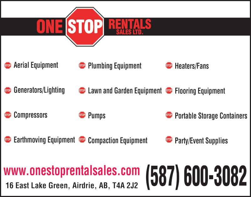 One Stop Rentals Sales Ltd Airdrie Ab 16 East Lake