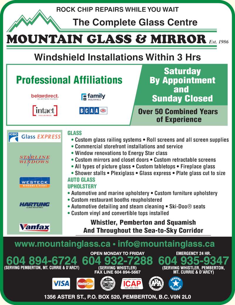 Mountain Glass Amp Mirror Opening Hours 1356 Aster St
