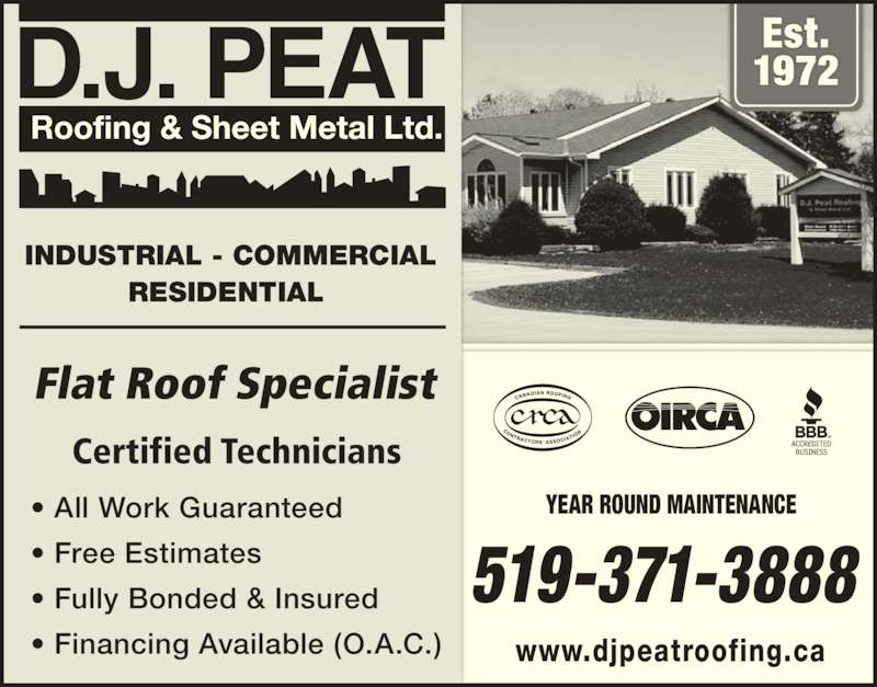 D J Peat Roofing Amp Sheet Metal Ltd Opening Hours