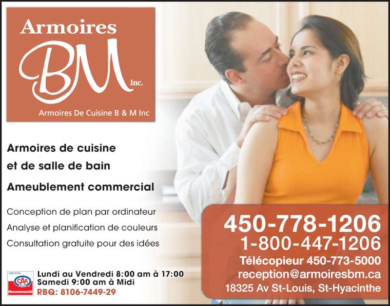 Armoires de cuisine b m inc saint hyacinthe qc 18325 for Armoires de cuisine et plus inc