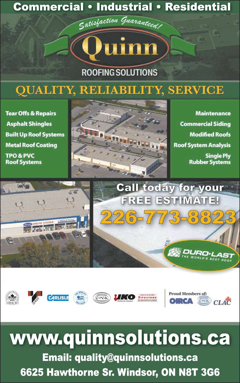 Quinn Roofing Solutions Inc (519-256-8474) - Display Ad - on st ru cti on Workers U LOCAL 53 nion