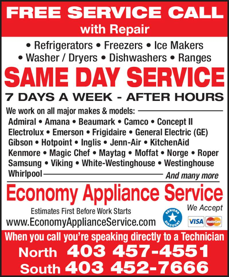 Economy Appliance Service Calgary Ab 4536 Bowness Rd