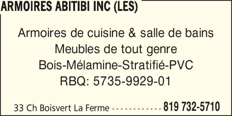 Les armoires abitibi enr amos qc 33 ch boisvert for Meuble boisvert
