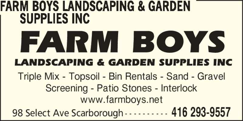 Farm boys landscaping garden supplies inc scarborough for 98 degrees tanning salon scarborough