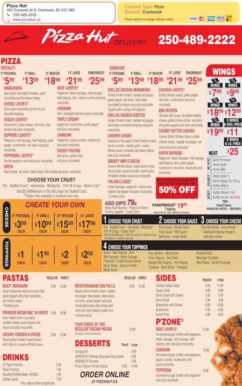 Pizza Hut - Menu, Hours & Prices - 401 Cranbrook St N ...
