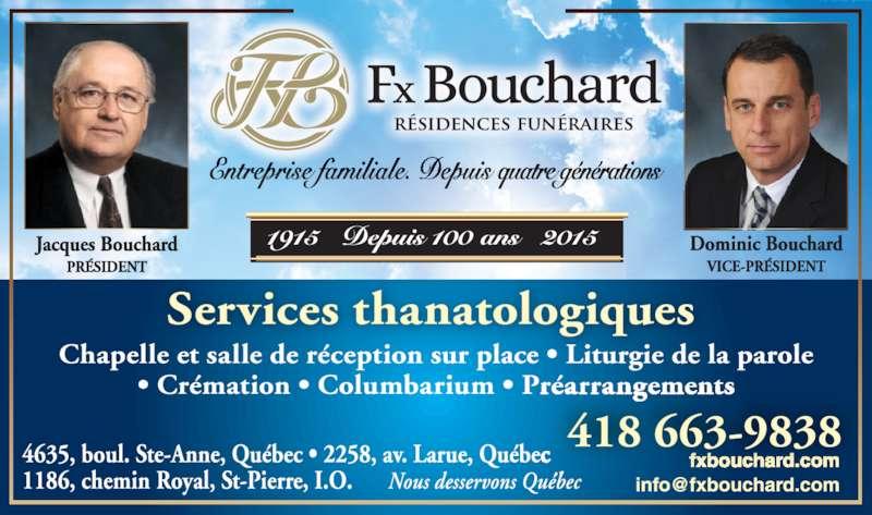 Résidences Funéraires F.X. Bouchard Inc (418-663-9838) - Annonce illustrée======= - 418 663-9838