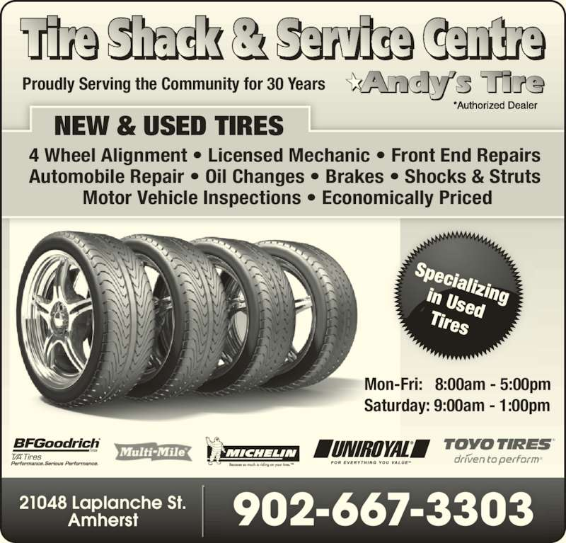 Tire Shack Amherst Ns 21048 Laplanche St Canpages