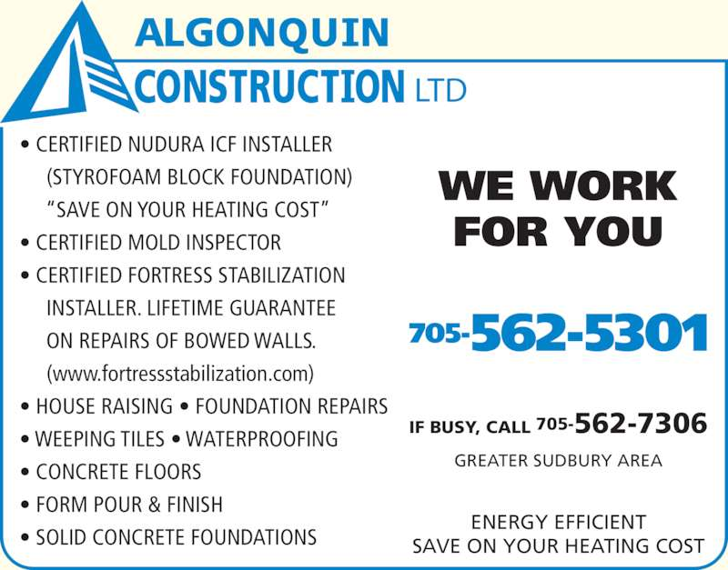 Algonquin construction ltd chelmsford on for Nudura icf cost