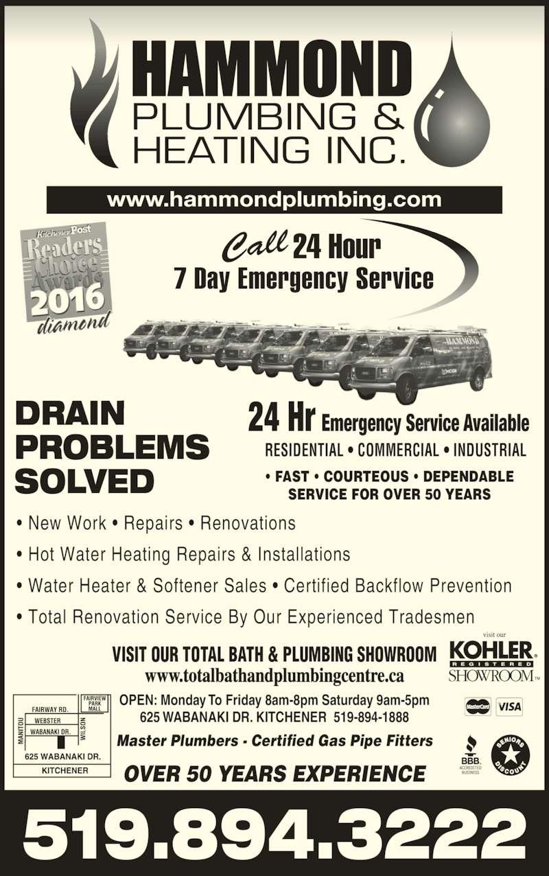 Hammond Plumbing Kitchener Hours