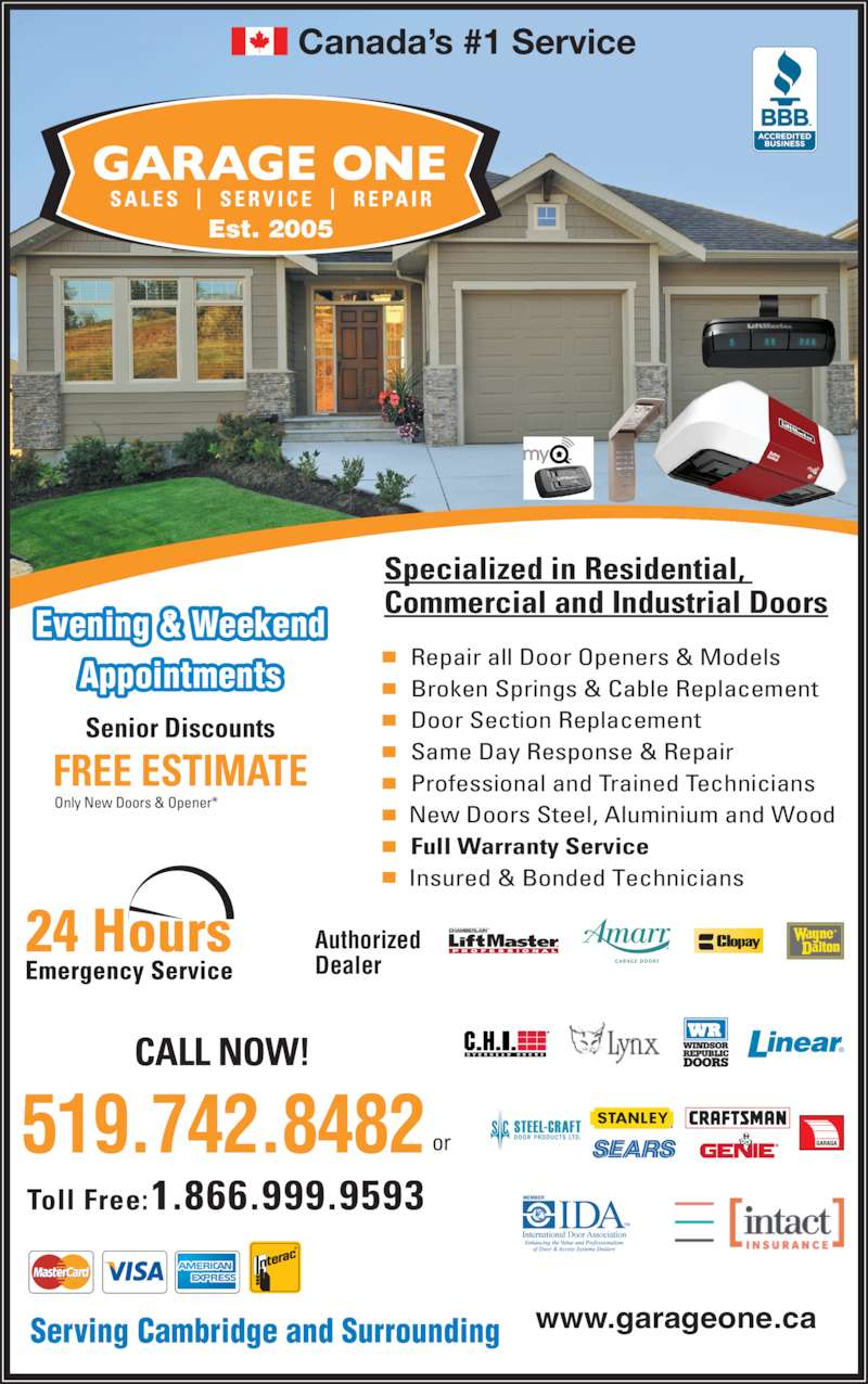 Garage One Doors amp Service Canpages