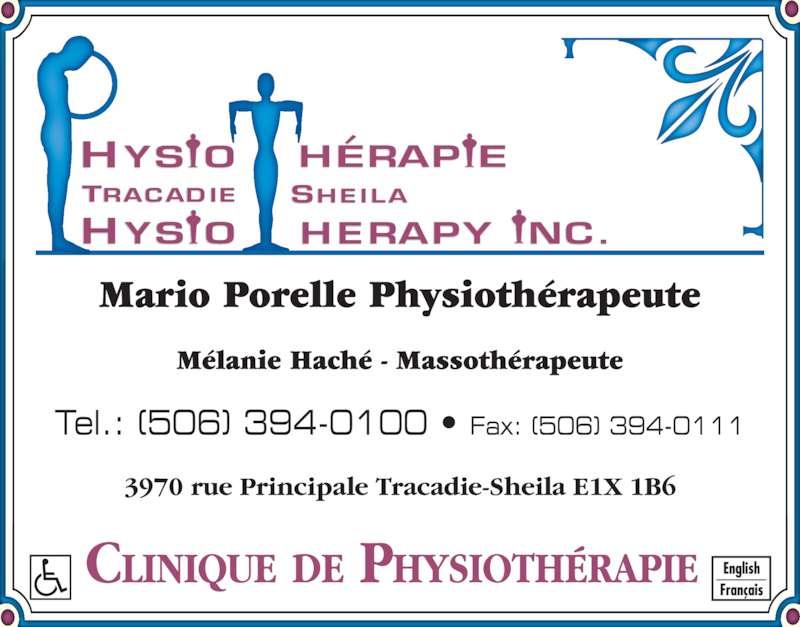 Physiothérapie Tracadie-Sheila Inc (506-394-0100) - Annonce illustrée======= -