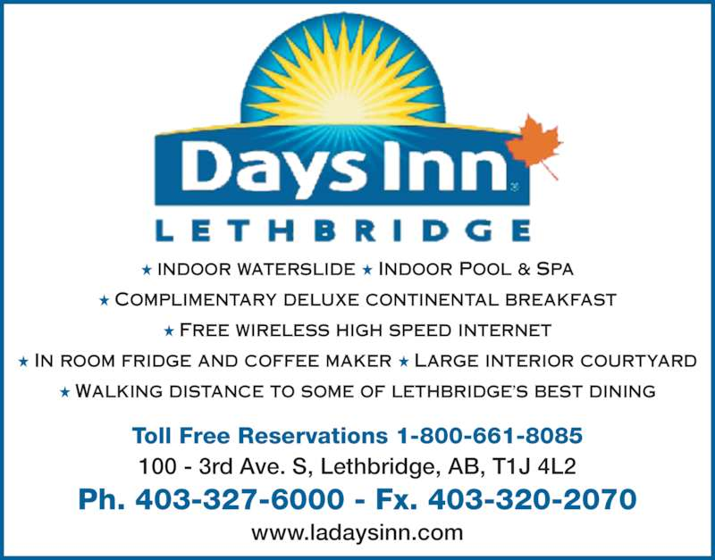 Days inn lethbridge ab 100 3 avenue s canpages for 24 hour tanning salon near me