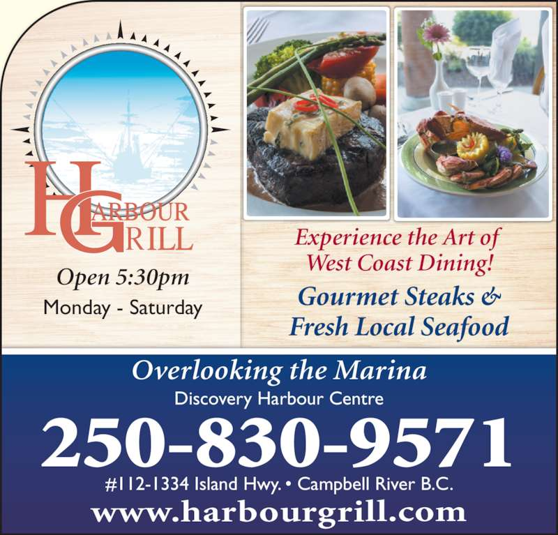 Harbour grill menu hours prices 112 1334 island hwy for Fish river grill menu
