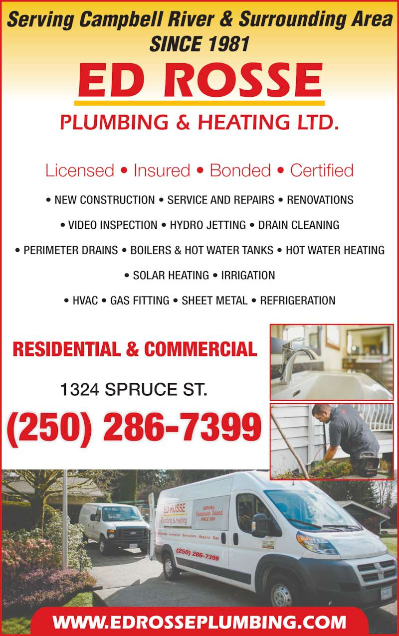 Rosse Ed Plumbing Ltd - Campbell River, BC - 1324 Spruce St | Canpages