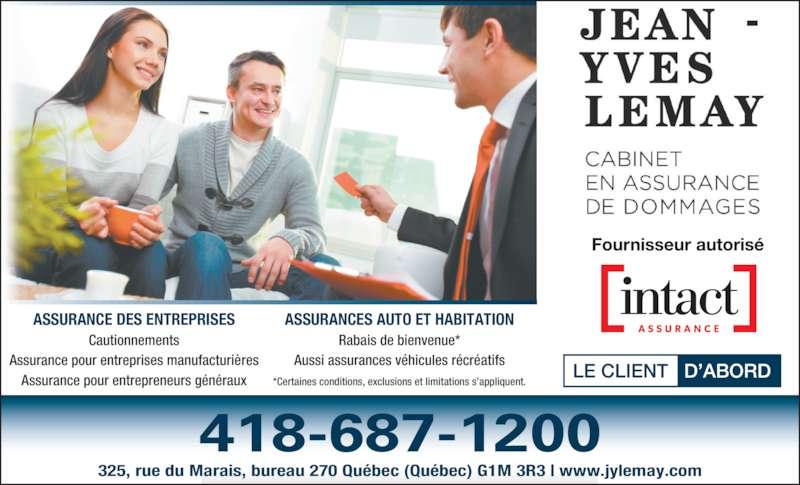 assurance jean yves lemay horaire d 39 ouverture 325 rue du marais qu bec qc. Black Bedroom Furniture Sets. Home Design Ideas