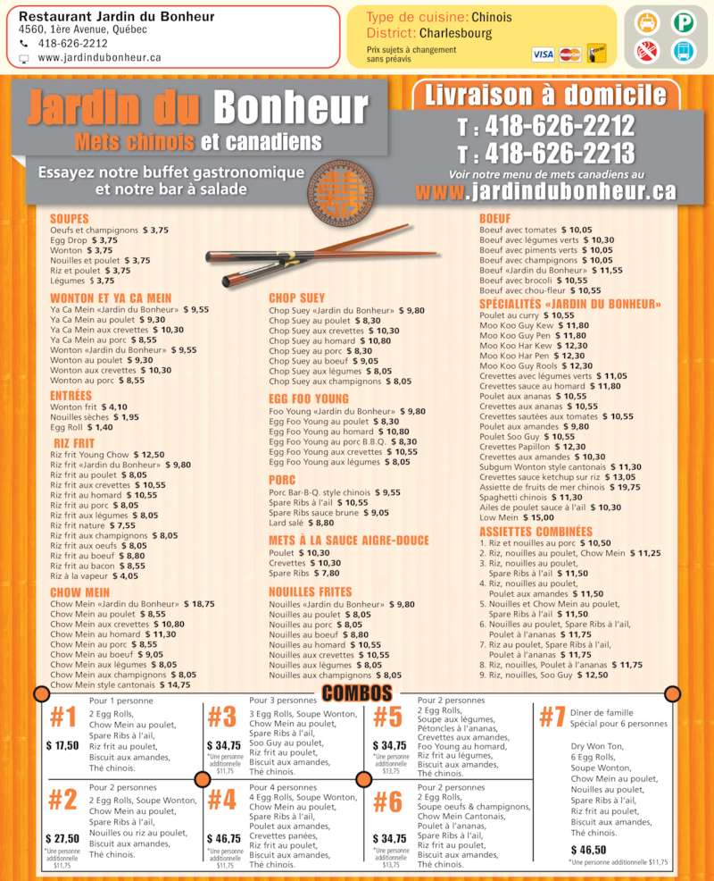 Jardin du bonheur restaurant qu bec qc 4560 1re av for Hotel du jardin menu